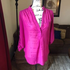Hot pink Truth NYC blouse - sheer